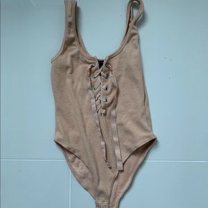 Forever 21, tan bodysuit. Medium